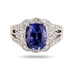 PLATINUM TANZANITE AND DIAMOND RING 3.97 C.T.W.