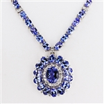 14K TANZANITE AND DIAMOND NECKLACE 41.22 C.T.W.