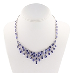 14K TANZANITE AND DIAMOND NECKLACE 38.35 C.T.W.