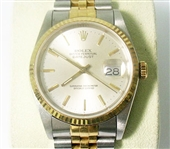 ROLEX MENS 18K & STAINLESS QUICKSET DATEJUST