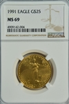 NEAR FLAWLESS AND RAREST 1991 $25 AMERICAN GOLD EAGLE. NGC MS69