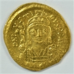 ULTRA SCARCE MINT STATE JUSTIN II BYZANTINE GOLD SOLIDUS, 565-578 AD