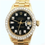 ROLEX LADIES 18K QUICKSET PRESIDENT WITH DIAMOND BEZEL AND DIAL