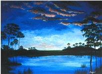 PALYN ***EVENING IN THE EVERGLADES *** SIGNED MIXED MEDIA ON CANVAS
