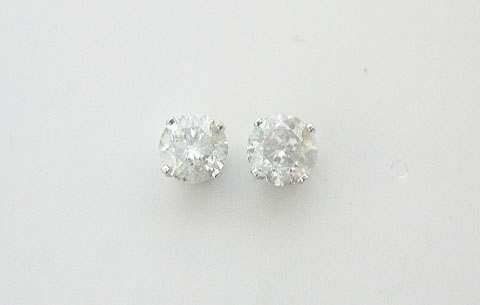 14K WHITE GOLD DIAMOND STUD EARRINGS 1 C.T.W.