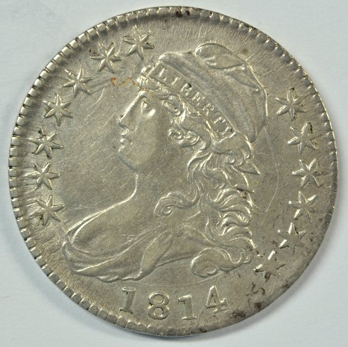 ULTRA SCARCE 1814 E/A IN STATES CAPPED BUST HALF DOLLAR IN AU