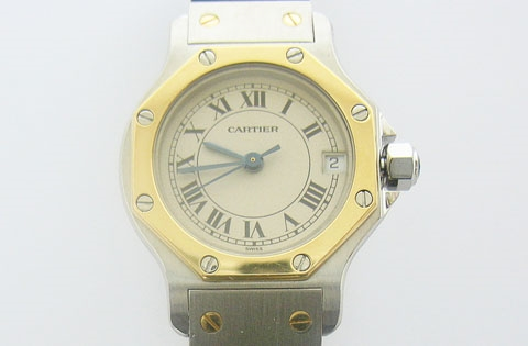 CARTIER LADIES 18K AND STAINLESS SANTOS WATCH