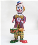 COLLECTIBLE WIND UP CLOWN DRUMMER TIN TOY