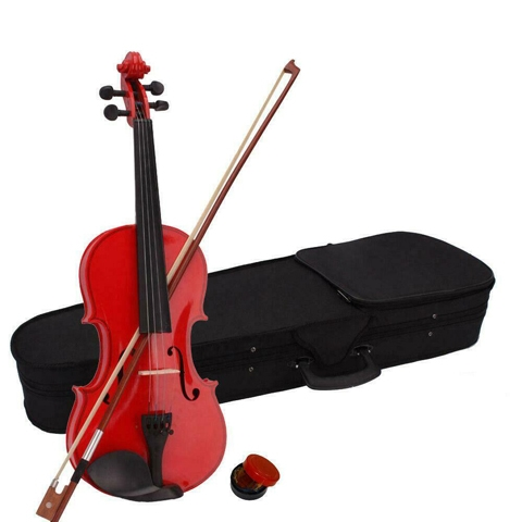 NEW FULL SIZE RED VIOLIN IN CARRYING CASE