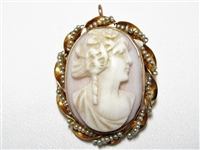 14K ANTIQUE PINK CORAL CAMEO/ BROOCH WITH PEARLS