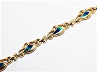 HEAVY 14K YG & BLACK OPAL FANCY BRACELET