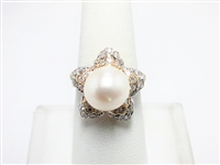 11 MM PEARL & .60 CT DIAMOND 14K FLORAL COCKTAIL RING