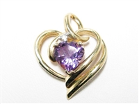 1.5 CT AMETHYST & DIAMOND LARGE GOLD PENDANT