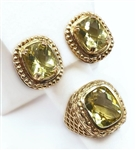 14K EARRINGS WITH 5 CT. PERIDOT 8.9 GRAMS WITH MATCHING 14K RING WITH 7 CT. PERIDOT 7.9 GRAMS