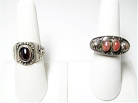 TWO VINTAGE SILVER RINGS WITH GEMSTONES