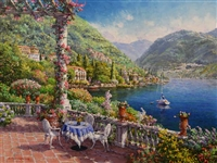 PARK ** LAKE COMO ** SIGNED CANVAS