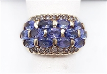 2+ C.T.W. TANZANITE AND DIAMOND RING IN 14K GOLD