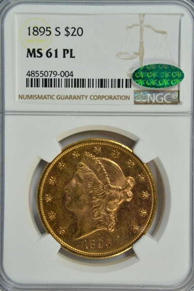 RARE PROOFLIKE 1895-S $20 LIBERTY GOLD PIECE. NGC MS61 PL, CAC STICKER