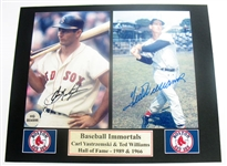 HAND SIGNED WILLIAMS & YASTRZEMSKI 4X6S IN A 8X10 MATTED DISPLAY