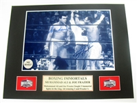 HAND SIGNED MUHAMMAD ALI & JOE FRAZIER 5X7 IN AN 8X10 MATTED DISPLAY