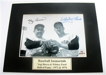 HAND SIGNED YOGI BERRA & WHITEY FORD 5X7 IN A 8X10 MATTED DISPLAY