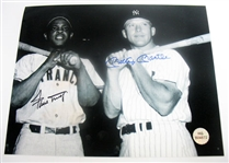 HAND SIGNED MICKEY MANTLE, AND WILLIE MAYS 8X10