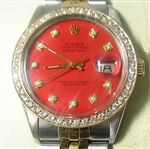 ROLEX MENS 18K & STAINLESS QUICKSET DATEJUST WITH DIAMOND BEZEL AND DIAL, AND ORIGINAL DIAL