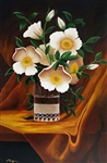 PALYN *** ANTIQUE WHITE ROSES *** SIGNED  CANVAS