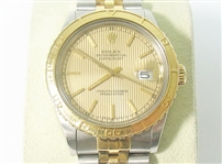 ROLEX MENS 18K AND STAINLESS STEEL QUICKSET DATEJUST TURN-O-GRAPH THUNDERBIRD WATCH