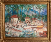 MANOR SHADIAN **  LAHAINA HARBOR WITH WEST MAUI MOUNTAINS  ** ORIGINAL OIL ON BURLAP