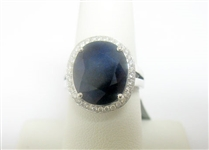 14K BLUE SAPPHIRE AND DIAMOND RING 8.53 C.T.W.