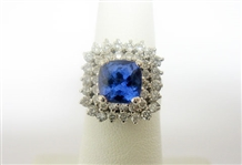 14K TANZANITE AND DIAMOND RING 3.48 C.T.W.