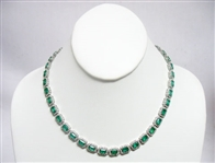14K EMERALD AND DIAMOND NECKLACE 35.12 C.T.W.