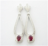 PLATINUM RUBY EARRINGS 2.49 C.T.W.