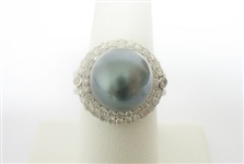 14K TAHITIAN PEARL AND DIAMOND RING