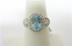 PLATINUM AQUAMARINE AND DIAMOND RING 2.50 C.T.W.