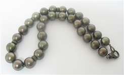 TAHITIAN PEARL AND DIAMOND NECKLACE, 1.20 C.T.W.