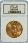SIMPLY SUPERB GEM BU 1927 ST. GAUDENS $20 GOLD PIECE. NGC MS65