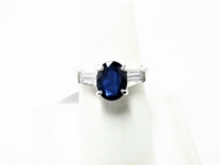 2.83 CT SAPPHIRE & DIAMOND PLATINUM RING WITH CERTIFICATE