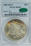 OUTSTANDING SUPERB GEM BU 1900-O/CC MORGAN SILVER DOLLAR. PCGS MS65 CAC STICKER