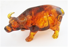 HAND CARVED AMBER LUCKY CATTLE STATUE