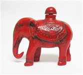 CHINESE HAND CARVED RED ELEPHANT SNUFF BOTTLE