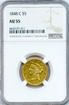 EXTREMELY SCARCE 1848 C $5 LIBERTY GOLD COIN