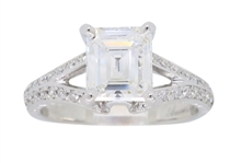 18K WHITE GOLD GIA CERTIFIED D COLOR EMERALD CUT (1.12 CT.) DIAMOND ENGAGEMENT RING, 1.38 C.T.W.