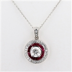 PLATINUM RUBY AND DIAMOND PENDANT NECKLACE 2.96 C.T.W.