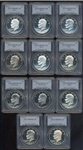 NEAR PERFECT ULTRA DEEP CAMEO PROOF COMPLETE SET OF ALL 11 EISENHOWER $1S. PCGS PR69DCAM