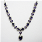 SIGNED STERLING SILVER AND AMETHYST NECKLACE