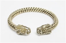 SILVER TONE DRAGON BANGLE BRACELET
