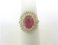 14K RUBY AND DIAMOND RING 4.04 C.T.W.