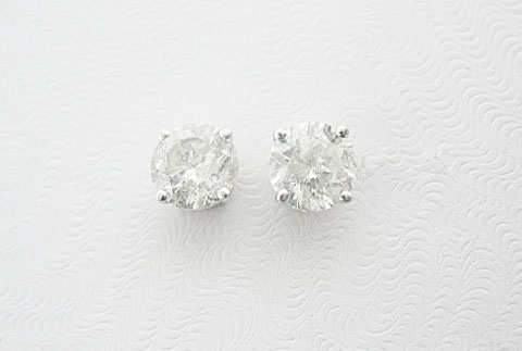 18K DIAMOND STUD EARRINGS 1.97 C.T.W.